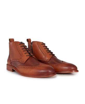 Paolo Vandini Eros Contrast Panel Leather Boots Colour: Brown Khaki, S