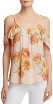Joie Adorlee Cold-Shoulder Printed Silk Top