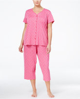 Charter Club Plus Size Loop-Trimmed Top and Cropped Pants Pajama Set, Only at Macy's