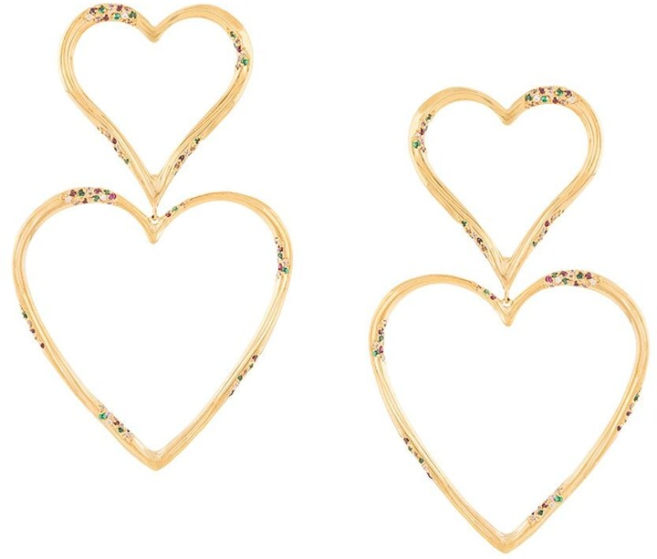 Thumbnail for your product : Joanna Laura Constantine Double Heart Drop Earrings