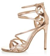 River Island Womens Rose gold tone wide fit strappy heels
