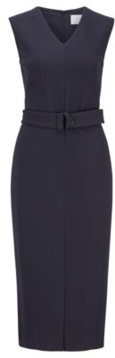 HUGO BOSS Sleeveless shift dress in stretch twill with belted waist