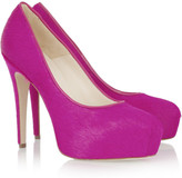 Maniac calf hair platform pumps