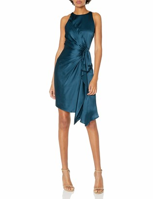 Halston Women's Sleeveless Draped Front Satin Dress