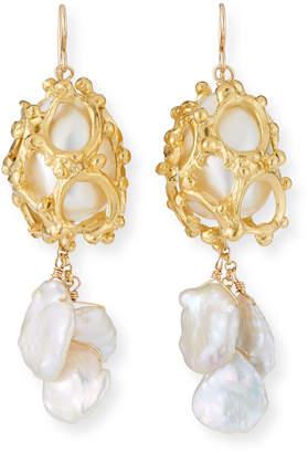 Devon Leigh Gold Cage Keshi Pearl Earrings