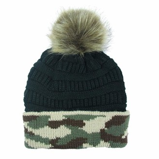 CUTUDE Camouflage Stitching Colour Womens Girls Winter Plush Ball Hat Wool Crochet Knitted Beanie with Double Cap Ski Snowboard Bobble (Black Free)