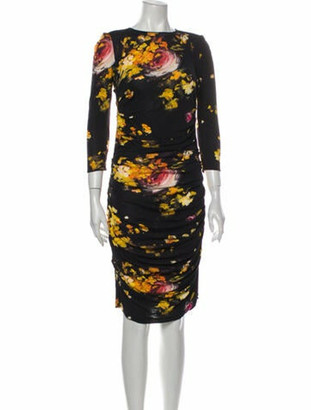 Dolce & Gabbana Floral Print Knee-Length Dress Black
