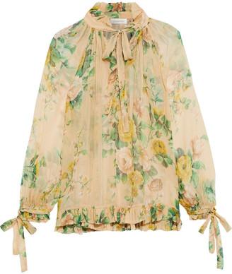 Zimmermann Zippy Tie-neck Floral-print Silk-georgette Blouse