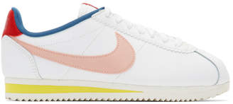 Nike White and Pink Classic Cortez Sneakers
