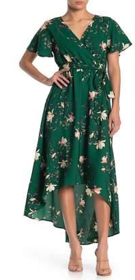 WEST KEI Floral Flutter Sleeve High/Low Dress