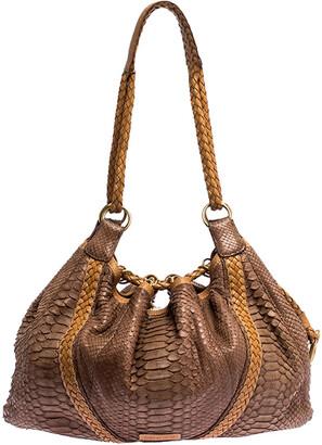 Loewe Brown/Tan Python Leather Drawstring Shoulder Bag