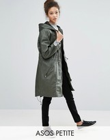 Asos Waxed Parka Raincoat With Zip Detail
