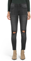 Juniors High Waist Studded Destructed Jeans