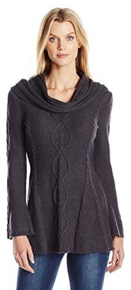 Heather B Women's Cowl Nk Center Cable A Line Tunic