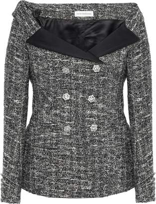 Faith Connexion Off-the-shoulder Metallic Boucle-tweed Jacket