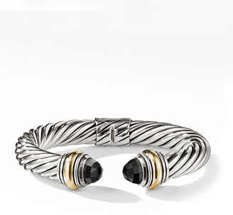 David Yurman Cable Classics Silver Kick Cuff Bracelet w/ 14k Gold & Black Onyx
