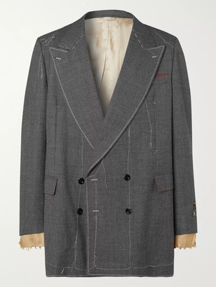Gucci Dark-Grey Double-Breasted Distressed Wool-Sharkskin Suit Jacket