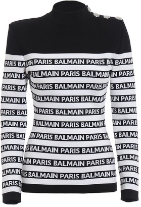 Balmain Logo Print Striped Turtleneck Jumper