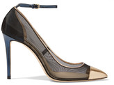 Jimmy Choo Tower Metallic Leather-paneled Mesh Pumps - Gold