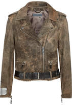 Golden Goose Deluxe Brand Mini Chiodo Calf Hair-trimmed Leather Biker Jacket - Gray green
