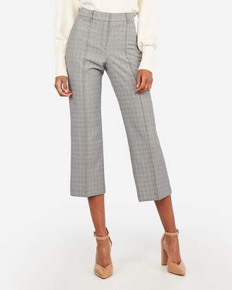 Express High Waisted Plaid Straight Cropped Pant