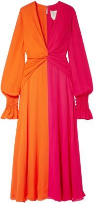 Carolina Herrera Two-tone Gathered Silk-georgette Maxi Dress
