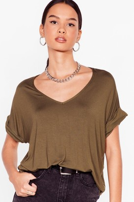 Nasty Gal Womens Leave It to V-Neck Relaxed Tee - Sage