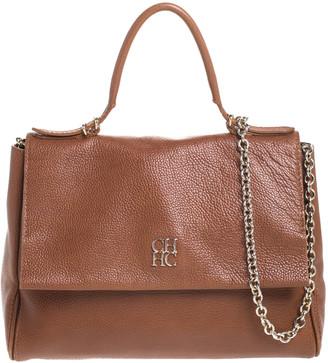 Carolina Herrera Brown Leather Minueto Flap Bag