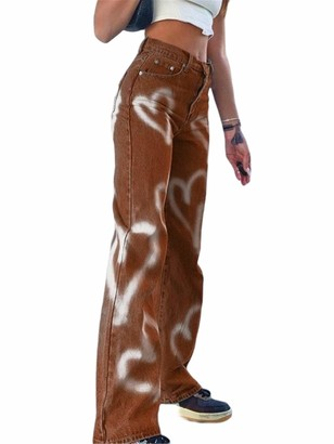 ICNGLKSND Women Wide Leg Heart Print Jeans High Waist Pockets Straight Leg Trousers Loose Streetwear Flared Denim Pants (A Brown M)