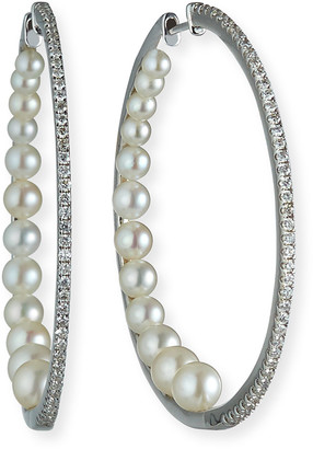 Siena Jewelry 14k White Gold Diamond Pearl-Back Hoop Earrings