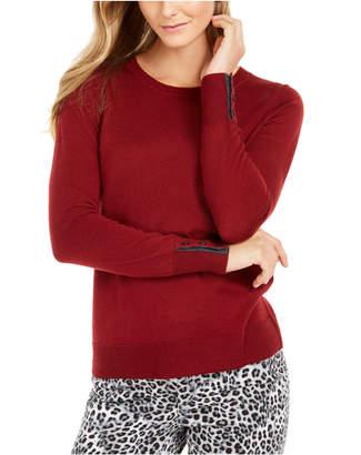 Charter Club Merino Wool Button-Cuff Crewneck Sweater