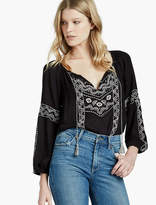 Lucky Brand Embroidered Gauze Peasant Top