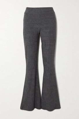 CALÉ Angelique Melange Stretch-terry Flared Pants - Gray
