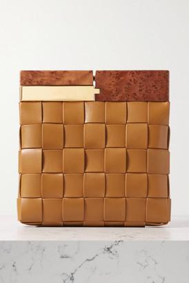 Bottega Veneta Wood And Intrecciato Leather Clutch - Camel