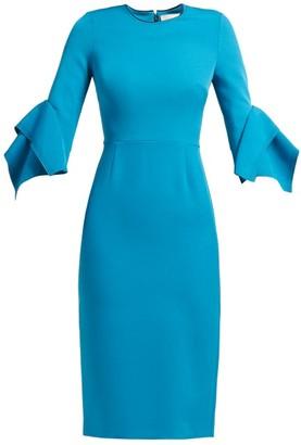 Roksanda Ronda Contrast-panel Fluted-cuff Cady Dress - Womens - Blue Multi