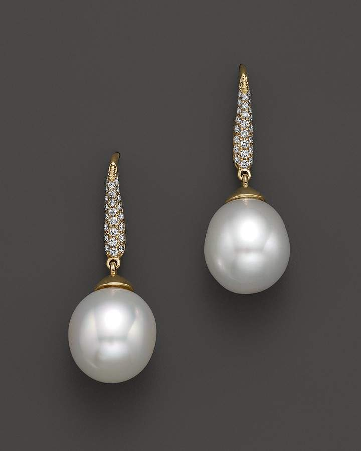 Bloomingdale's Cultured South Sea Pearl Drop Earrings with Diamonds in 18K Yellow Gold, 10.5mm