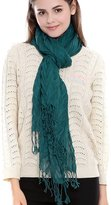FAYBOX Women Soft Hollow Crinkle Scarf With Solid Color Fringe Tassels