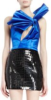 Saint Laurent One-Shoulder Pleated-Bow Top, Royal
