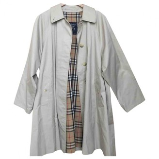 Burberry White Cotton Trench Coat for Women Vintage