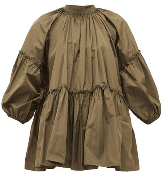 Biyan Syasta Gathered Taffeta Blouse - Khaki