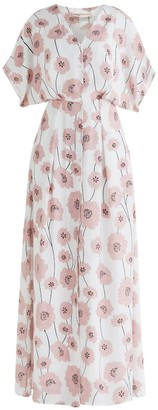 Paisie Athens Maxi Floral Dress In White Floral Print