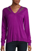 T Tahari Lace-Trimmed V-Neck Sweater