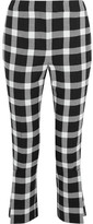 Christopher Kane Cropped Gingham Wool-blend Slim-leg Pants - Black