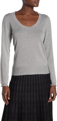 Max Studio Scoop Neck Ruffled Sweater