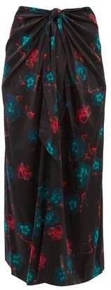 Ganni Floral-print Tie-front Silk-blend Midi Skirt - Black Multi