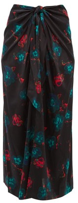Ganni Floral-print Tie-front Silk-blend Midi Skirt - Womens - Black Multi