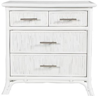 David Francis Furniture Bermuda 4 Drawer Bachelor's Chest Color: White/Brushed Nickle