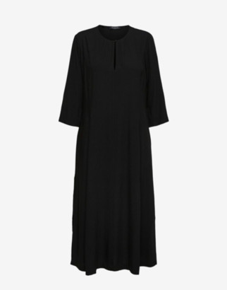 Selected Black 3/4 Sleeved Midi Dress - 34