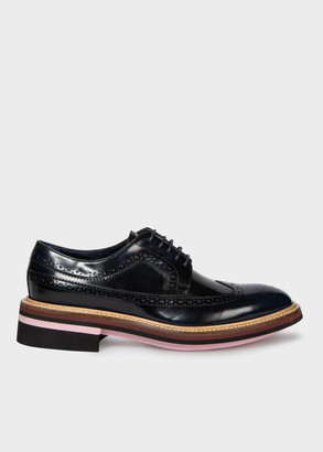 Paul Smith Women's Dark Navy High-Shine Leather 'Chase' Brogues