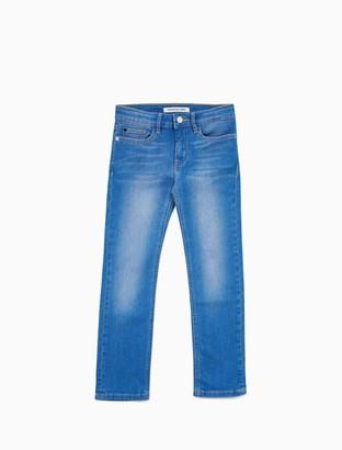 Calvin Klein Girls Slim Fit Mid Rise Bright Blue Jeans